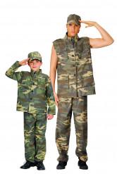 Militär-Soldaten Paarkostüm für Vater und Sohn grün-braun