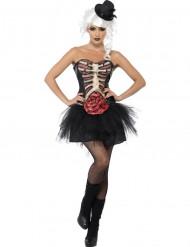 Skelett-Kostüm offene Brust Halloween für Damen