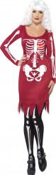 Rotes Skelett-Kostüm Halloween für Damen