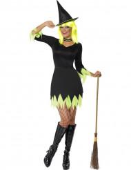 Halloween Hexen-Kostüm schwarz-gelb für Damen