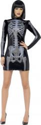 Schwarzes sexy Skelett Kostüm für Damen Halloween