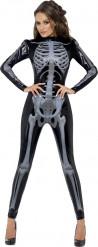 Sexy Halloween Skelett-Kostüm für Damen in Schwarz