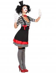 Mime Kostüm für Damen schwarz-rot-weiß