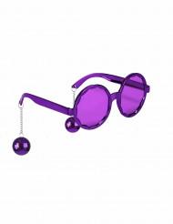 Witzige Disco Brille lila für Erwachsene