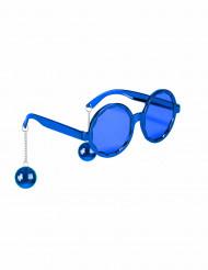Witzige Disco Brille blau für Erwachsene