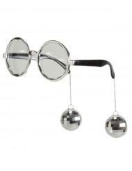 Witzige Disco Brille silber für Erwachsene