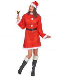 Damenkostüm Weihnachtsfrau mit Pompons