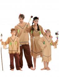 Indianer-Gruppenkostüme Familien-Verkleidungen braun-beige