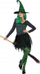 Halloween grünes Spinnennetz Hexe Kostüm für Damen