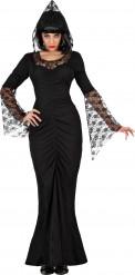 Halloween Hexe Kostüm mit schwarzer Spitze für Damen