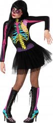 Halloween buntes Skelett Kostüm mit Tüllröckchen für Damen