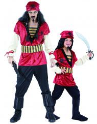 Piraten Paarkostüm für Vater und Sohn schwarz-rot