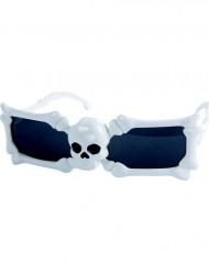 Totenkopf Brille weiß Halloween