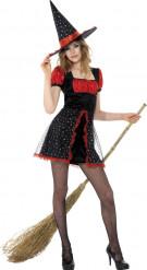 Halloween Hexen-Verkleidung schwarz-rot für Jugendliche