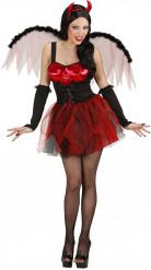Sexy Teufelinnen-Kostüm Halloween rot Damen