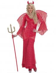 Halloween Teufelin Kostüm mit roter Spitze für Damen
