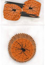 24 Halloween Cupcake Förmchen und Dekorationsstecker