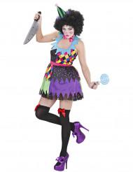 Halloween buntes Erschreckender Clown Kostüm für Damen