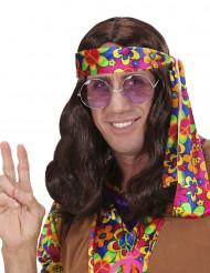Braune Hippie-Perücke für Erwachsene