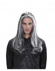 Lange zweifarbige Vampir-Perücke für Erwachsene Halloween