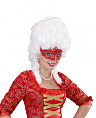 Venezianische Halbmaske mit Strass rot für Erwachsene
