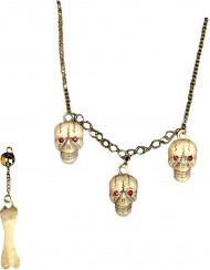 Halloween Totenschädel Schmuck-Set für Erwachsene