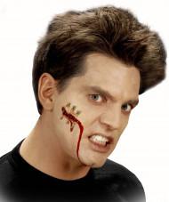 Falsche blutige Halloween Wunde mit Nadeln für Erwachsene