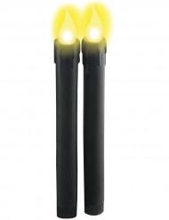 Schwarze leuchtende Kerzen mit Batterien