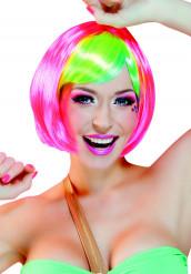 Rosa Kurzhaarperücke für Damen mit vielfarbigem Pony