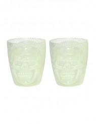 2 fluoreszierende Totenkopf-Gläser