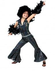Schwarzes und gläzendes Disco Kostüm für Mädchen