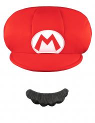 Kappe und Schnurrbart Mario™ für Kinder