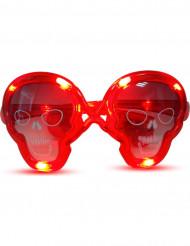 Rote Leucht-Brille Totenkopf