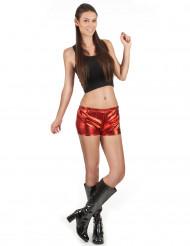 Rote glänzende Disco Shorty für Damen