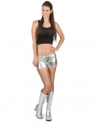 Silberner und glänzender Disco Shorty für Damen