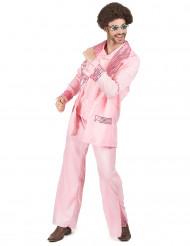 70er Disco Kostüm rosa für Herren