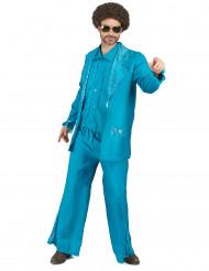 70er Disco Kostüm blau für Herren