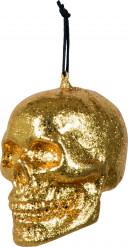 Goldener Totenkopf: Halloween Dekoration zum Aufhängen