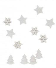 12 Tisch-Dekorationen - weiße Weihnachten