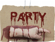 Wanddekoration blutige linke Hand, Aufschrift Party