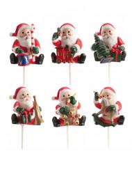 Weihnachtliche Figuren 6-teiliges Set rot-weiss-grün