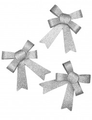 3 Glitzer Schleifen in Silbern