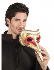 Venezianische Maske in rot-gold mit langer Nase