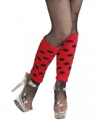 Beinstulpen rot mit schwarzen Punkten