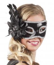 Venezianische Maske in schwarz mit Blumenfeder