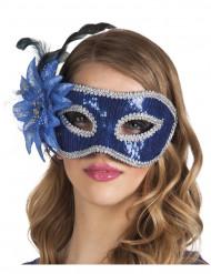 Venezianische Maske in blau mit Feder