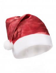Rot-glänzende Weihnachtsmütze für Erwachsene