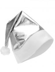 Silber-glänzende Weihnachtsmütze für Erwachsene