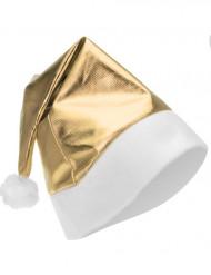 Gold-glänzende Weihnachtsmütze für Erwachsene