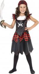 Schwarzes Piraten-Kostüm für Mädchen
